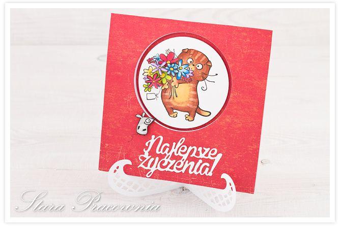 kartka ręcznie robiona z kotkiem , kolorowana Promarkerami. wycięte z przodu kółeczko- kotek w środku. www.facebook.com/starapracownia