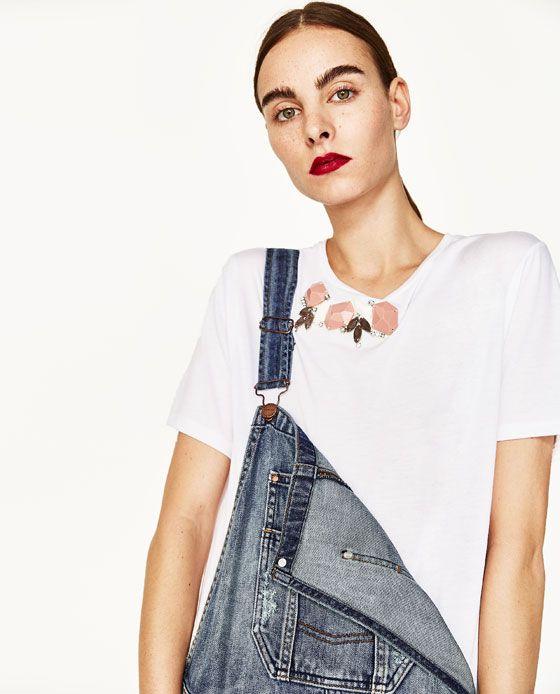 Billede 3 af T-shirt med smykkesten fra Zara