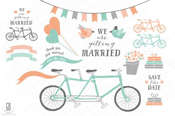 Tandem bicycle, wedding, mint coral by GrafikBoutique on Creative Market