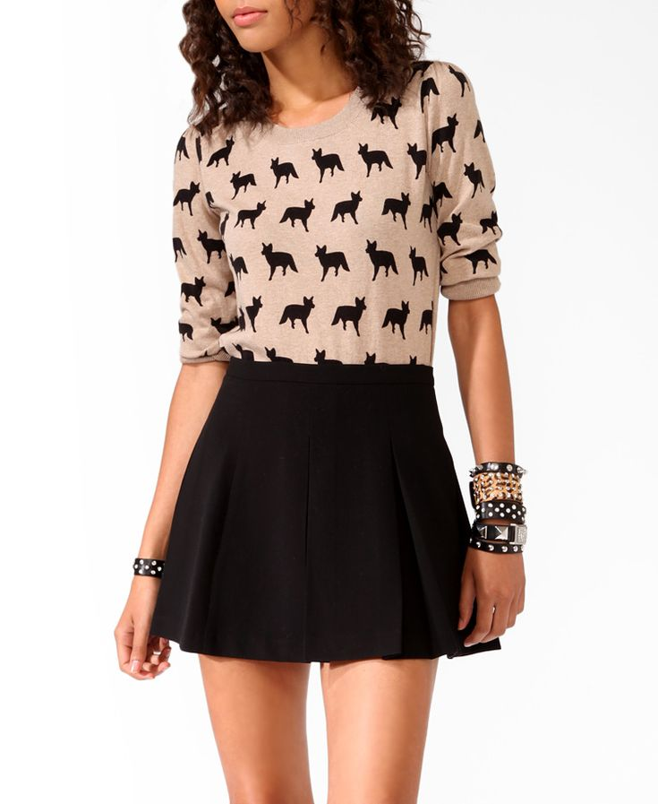 Ditsy Fox Sweater | FOREVER21 - 2021840254. Just bought this outfit for my pre-teen. $19.80 for the sweater.