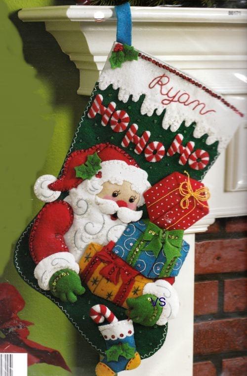 Bucilla Felt Applique Embroidery     HO HO HO SANTA #stocking #christmas #decor