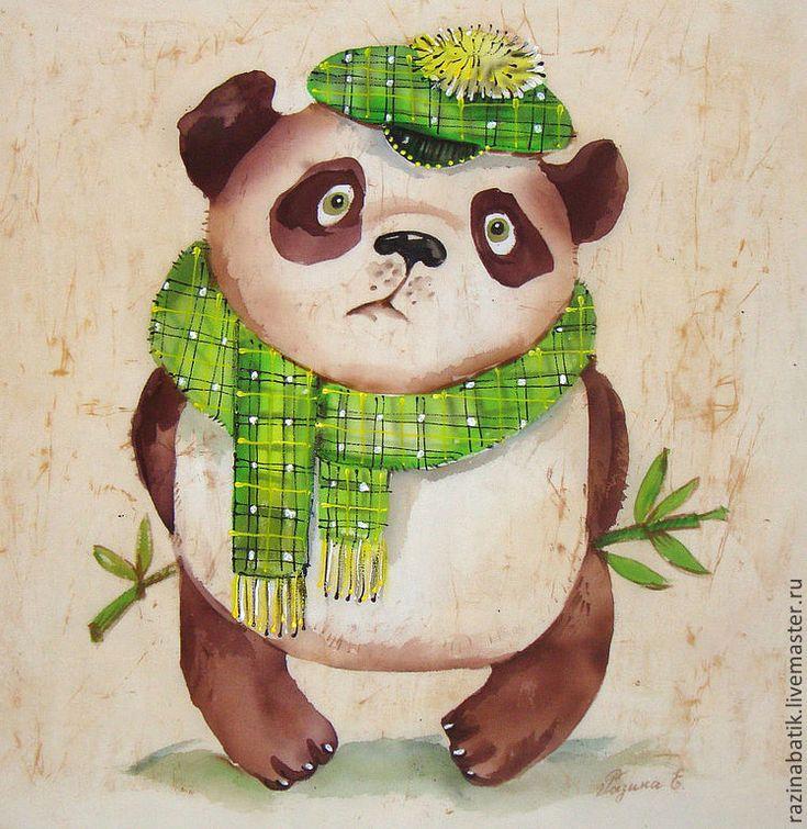 "Купить Панда ""Любитель бамбука"" (батик панно) - бежевый, панда, фен-шуй, картина, китай"