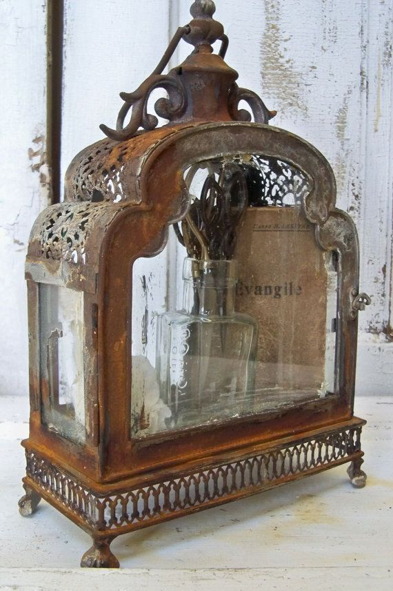 Glass and metal display case ornate distressed rusty observation showcase French chic home decor Anita Spero