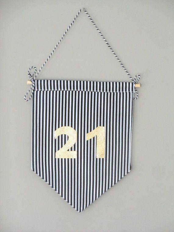 21st mini Birthday banner - Mini wall hanging - 21st Birthday decoration