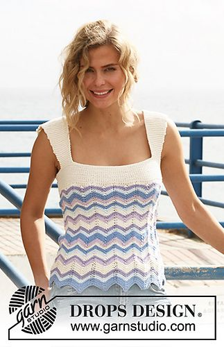Ravelry: 128-3 Top with zigzag pattern and stripes pattern by DROPS design