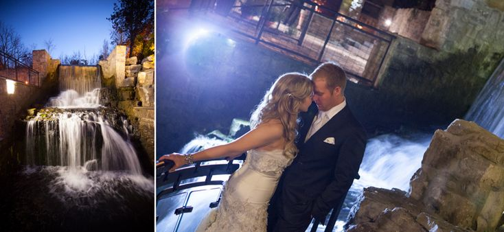 Ancaster Mill bride and groom near waterfalls