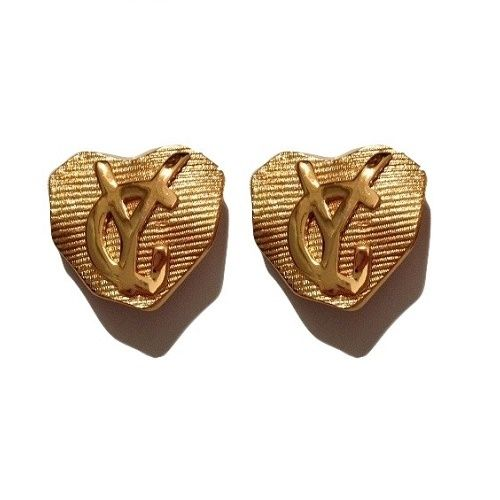 """Yves Saint Laurent vintage stylized heart shaped and initials clip on earrings Textured gilt-metal with reliefs, matte and shiny Very nice quality Marked """"YSL Made in France""""Near Mint Condition Measurements: 3cm x 3cm * Shipping Approximately 7-14 days WORLDWIDE -$20 USD (Registered International Post) Signature Required* Payment is by Secure PAYPAL*All DESIGNER items for sale are 100% Original and AuthenticPlease note: As with all vinta..."""