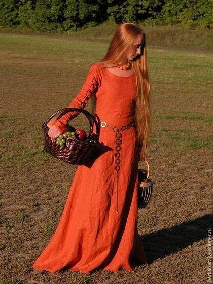 """Платья ручной работы. Ярмарка Мастеров - ручная работа. Купить Средневековое платье """"Рыжая Элис"""". Handmade. Рыжий, льняное платье"""
