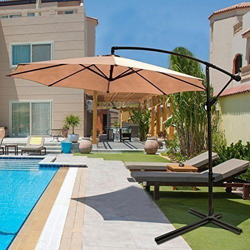 Patio Outdoor Umbrella Offset Aluminium Frame Cross Base Hanging Garden Pool NEW #PatioOutdoorUmbrellaOffset