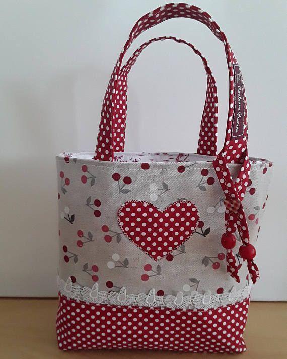 Grifftasche beige und rot cherryessac für girlsac für