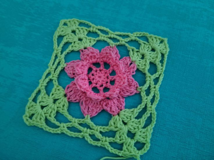 Square with a flower motif