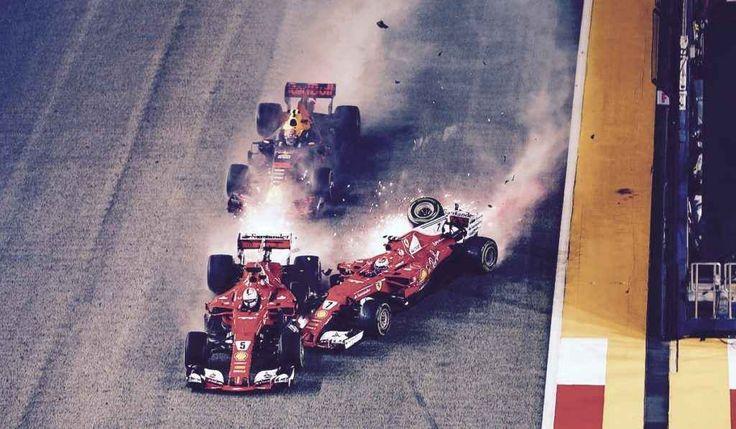 Formula 1 - A Singapore è disfatta Ferrari nell'incidente al via #ferrari #singapore #incidente #verstappe
