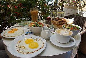 Classic Israeli breakfast - it's all about eggs and salad.  And coffee of course.