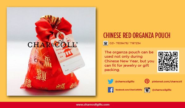 CHINESE RED ORGANZA POUCH | Celebrate the Chinese New Year! Share the proesperity and happiness | Order now : www.charncollgiftS.com | 021-7509476 / 021-7197234 #ChineseNewYearGifts #ChineseNewYear