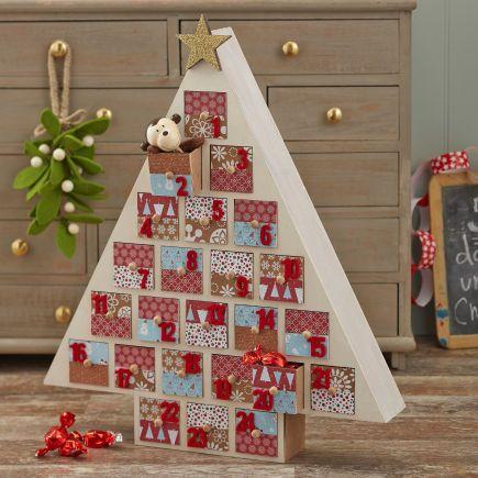 Wooden Christmas Tree Advent Calendar Trees Decoupage