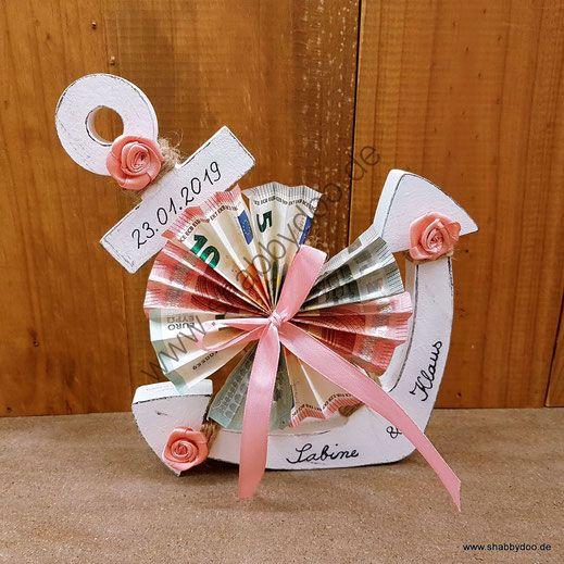 Geldgeschenk Hochzeit maritim in rosa weiß. Originelles Hochzeitsgeschenk personalisierter Hochzeitsanker