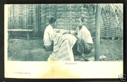 Batavia Girls painting Batik Java Indonesia ca 1899