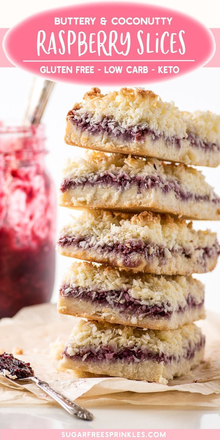 Gluten-free raspberry coconut slices, with a butte…
