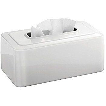 MetroDecor mDesign Facial Tissue Box Cover/Holder for Bathroom Vanity Countertops, White