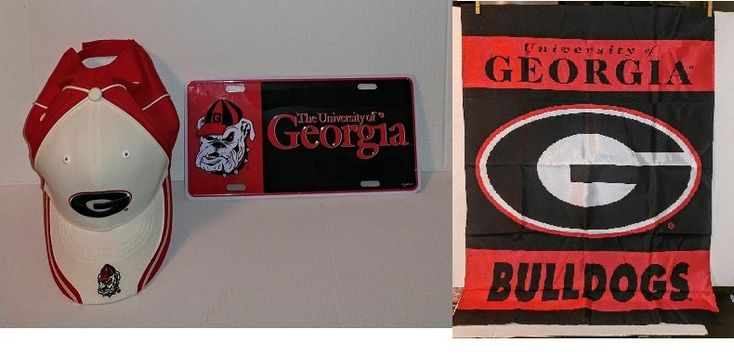 "University Of GEORGIA BULLDOGS 1 Licence plate, 1 double side Flag & 1 Hat      1 - NEW University Of GEORGIA BULLDOGS ALUMINUM LICENSE PLATE- Red/Black GAME DAY   1 - NEW  University Of GEORGIA BULLDOGS Hat - White/Red/Black New Era - One side fits all  1- NEW  University Of GEORGIA BULLDOGS  Double Sided Flag Premium 28"" X 40""    https://www.ebay.com/usr/artsyfartsy55"