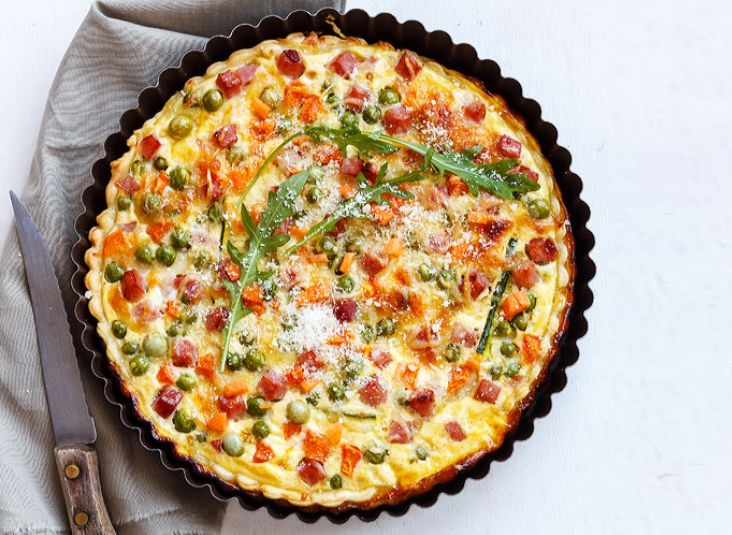 Ham and Cheese Quiche with Spring Vegetables — Easy and delicious, this ham and cheese quiche with green peas, carrot and zucchini is perfect for breakfast, lunch, or dinner.