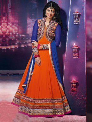 Orange Georgette Anarkali Suit with Resham Embroidery Work