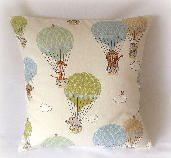 Handmade Blue & Green Hot Air Balloon Nursery Cushion Cover