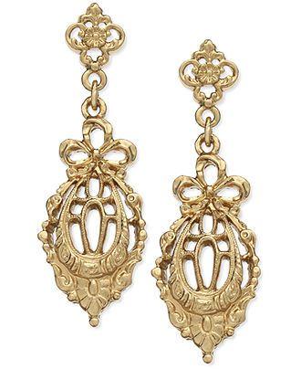 Downton Abbey Earrings, Gold-Tone Edwardian-Inspired Drop Earrings