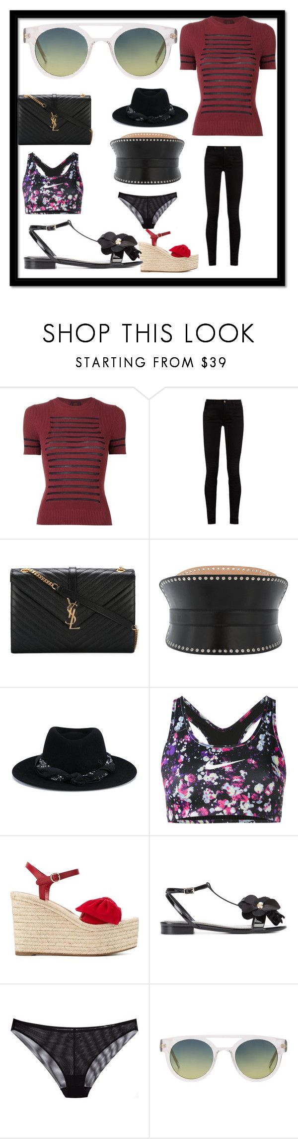 """COOL PARTY"" by justinallison on Polyvore featuring Jean-Paul Gaultier, Gucci, Yves Saint Laurent, Alexander McQueen, Maison Michel, NIKE, Valentino, Lanvin, Chantal Thomass and Komono"