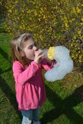 Bubble-snake maker. Cheap, easy, and fun for the kiddo. What more could you ask for?