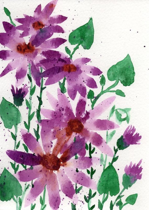 This Is A One Of A Kind Original Watercolor Painting Of Purple