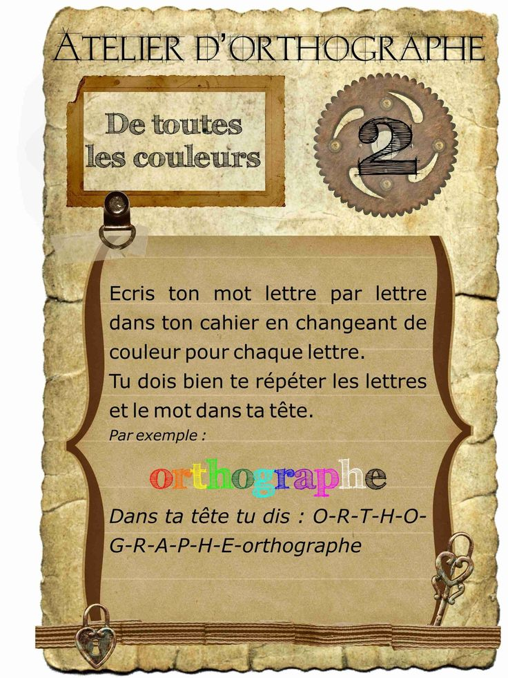 atelier orthographe couleurs