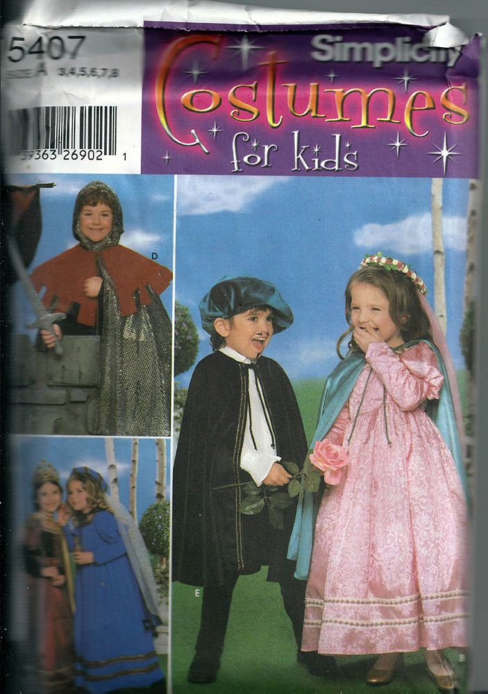 Simplicity Costumes for Kids no 5497  Unused Medieval