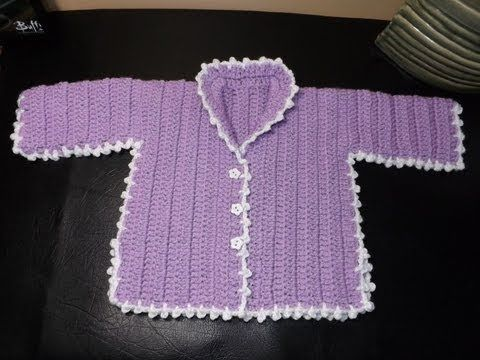 How to Crochet a Baby Sweater Lilac