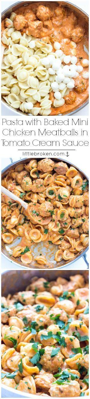 Easy skillet pasta dinner with BEST juiciest mini chicken meatballs in a tomato cream sauce | littlebroken.com @Katya | Little Broken