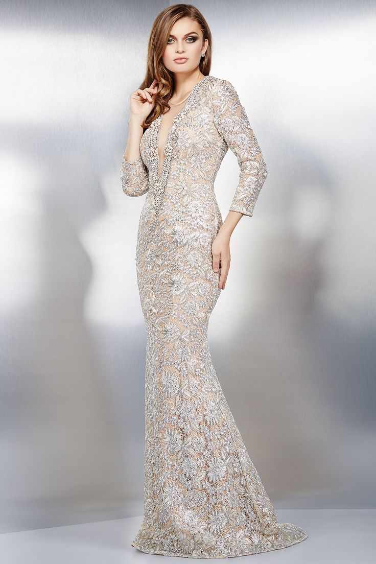 silver and nude long sleeve lace dress 24088 evening