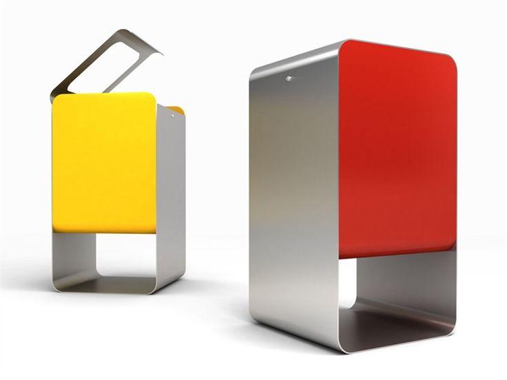Outdoor steel waste bin Smith Collection by CITYSI | design Gibillero