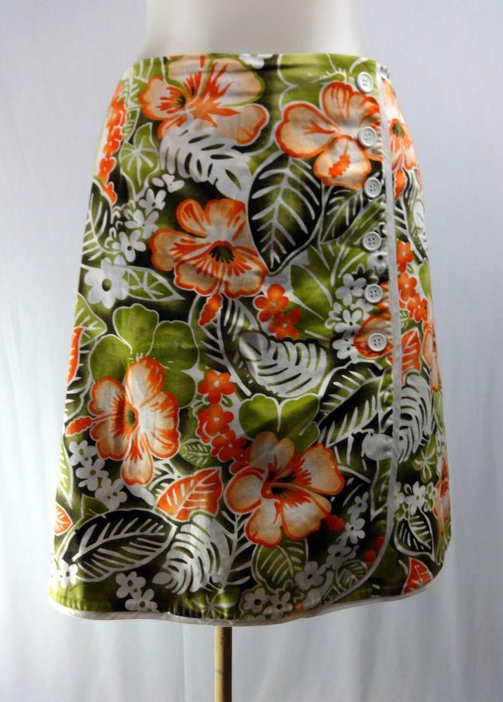 ISLAND REPUBLIC 6 Orange Green Hawaiian Faux Wrap Skirt Skort   #IslandRepublic #Mini