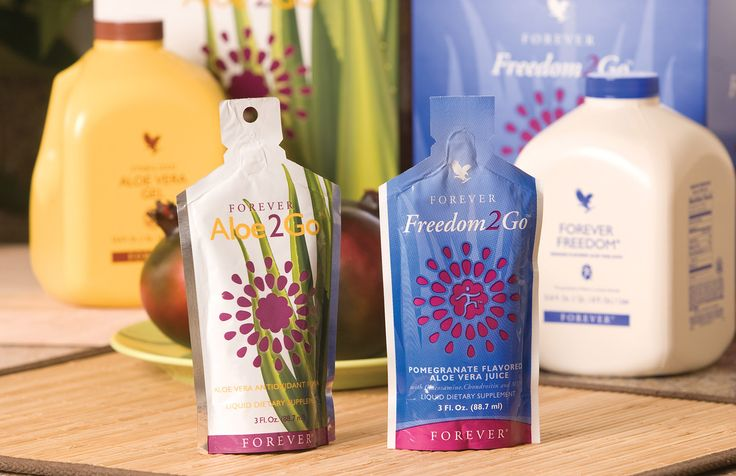 Enjoy all the benefits of Forever Freedom® combined with the exotic flavour of Pomegranate, offers the great health benefits of our aloe vera gel. +   Aloe Vera Gel blended with Pomesteen Power helps maintain the immune system. Aloe2Go is ready to drink anytime and anywhere. Ideal when travelling and on the go!