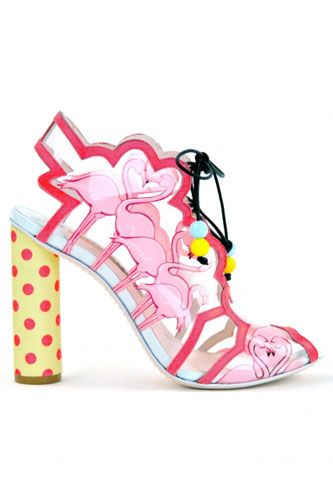 If they were $300 I'd totally get these!!! Sophia Webster Flamingo Vinyl Lace Up Bootie, $734, available at Sophia Webster.