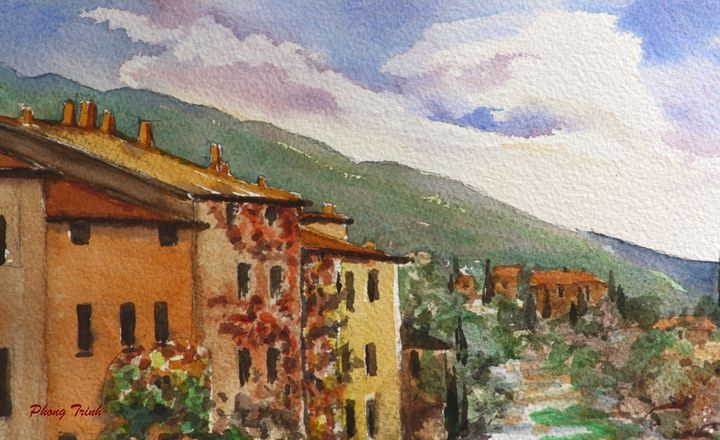 Lagrasse (5) - Phong Trinh Watercolor. More Fine Art Print Available at http://www.artpal.com/phongtrinh/