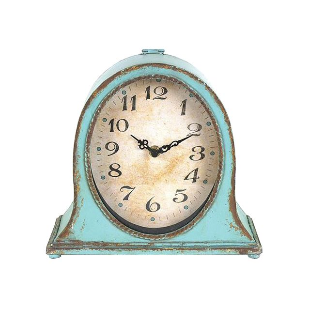 Don't let your smart phone be your primary time piece. Take a step back in time with this rustic, aqua metal clock and allow it to keep your life on time.  Find the Tick Tock Clock, as seen in the Shabby Chic Collection at http://dotandbo.com/collections/shabby-chic?utm_source=pinterest&utm_medium=organic&db_sku=100285
