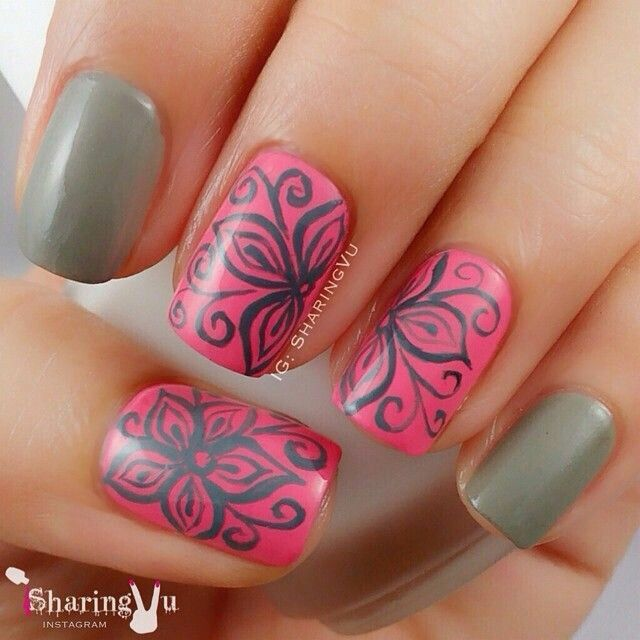 Pink & Grey tutorial by @sharingvu