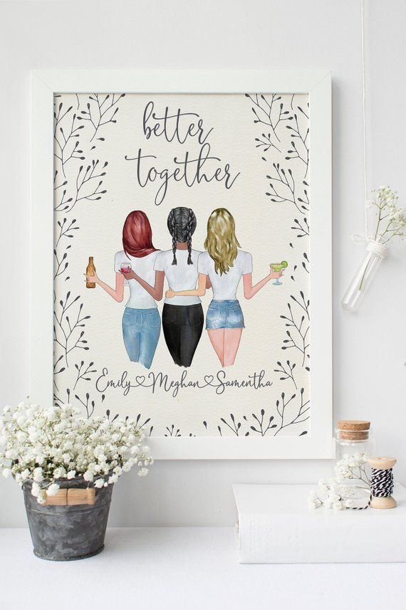 Personalized Portrait 3 Best Friends Sister Gifts Friendship Birthday Present For Bbf Soul Sister Print Illustration Christmas Gift Best Friend Christmas Gifts 3 Best Friends Gifts Drawings Of Friends