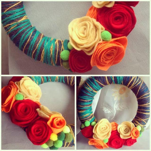 Autumn yarn & felt wreath