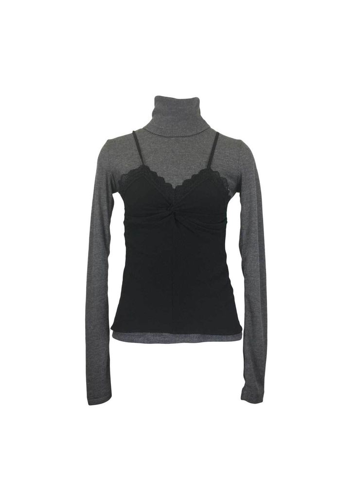 Grey Black Draped Lace Cami Front Ribbed Turtleneck Top