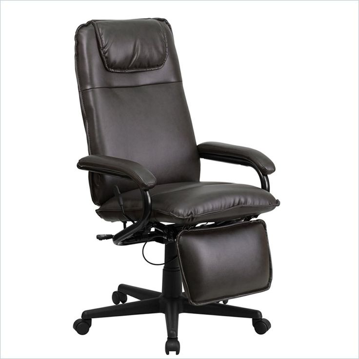 High Back Leather Reclining Office Chair in Brown : reclining office chairs with footrest - islam-shia.org
