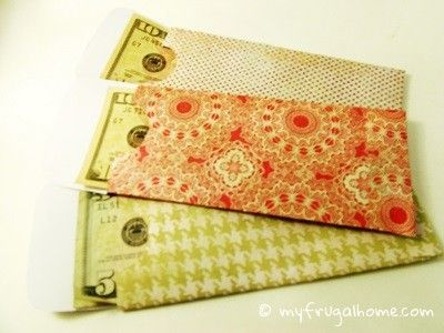 DIY Money Envelopes for gift giving or budgeting system using scrapbook paper - includes template for both horizontal or top loading design