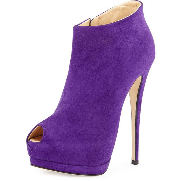 Giuseppe Zanotti Suede Peep-Toe Platform Bootie ($880) ❤ liked on Polyvore featuring shoes, boots, ankle booties, heels, purple, zapatos, purple ankle boots, suede ankle boots, suede peep toe booties and ankle boots