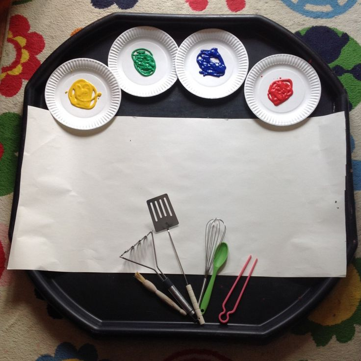 Painting With Kitchen Utensils Tuff Tray Ideas Toddlers